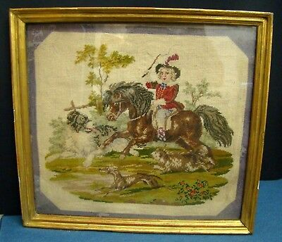 Large Embroidery Small Point in Frame Golden - First '800 - Baby Hunting