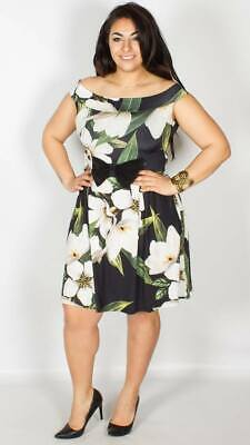 54a3151ec3b2a NEW YOURS Floral Bow Bardot Shoulder Occasion Dress be PLUS Size 16-26  CURVE 24