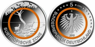 Germany Moneta commemor. 5 € coin Gedenkmünze Deutschland 2018 subtropical Zone