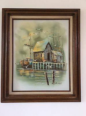 Beautiful Vintage Oil on Canvas Seascape Fishing Boat ~ Signed by L. ALIES,