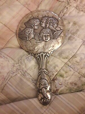 Antique silver cherub Cupid putti angel hallmarked 925  hand mirror