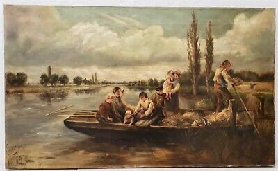 19th Century Barbizon School English River Landscape With Boat at Dock C.1900