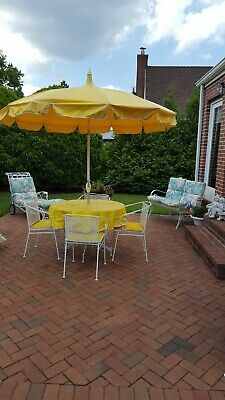 Vintage White Wrought Iron Outside Patio Set