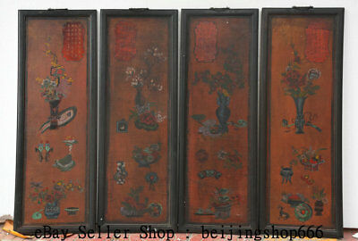 """32"""" Old Chinese Wood Lacquerware Painting Dynasty Palace Flower Vase Screen Set"""
