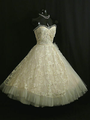 Vintage 1950's 50s Strapless Ivory Lace Tulle Prom Party Wedding Dress