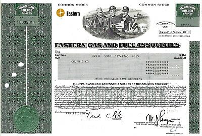 Eastern Gas and Fuel Associates, Massachusetts, 1980 (2.500 Shares)