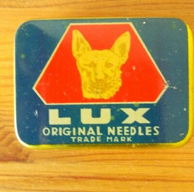 "Very rare ""Lux"" gramophone needles tin full puntine grammofono Excellent"