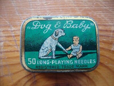 "Very rare ""Dog & Baby"" gramophone needles tin full puntine grammofono Excellent"