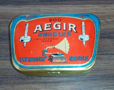 "Very rare ""AEGIR"" gramophone needles tin full puntine grammofono Excellent"