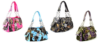 Concealed Carry CCW Handgun Western Rhinestone Camo Flower Purse Handbag