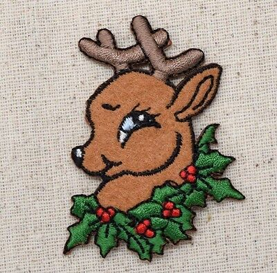 Iron on Applique//Embroidered Patch Lights in Antlers Christmas Moose Face//Head
