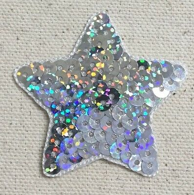 10 x Embroidered Yellow Silver Sequin Star 40 Birthday Card Making Motifs #7E10