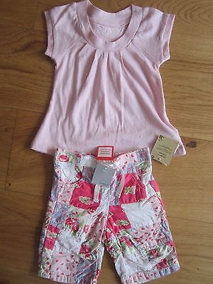BNWT girls baby NEXT top set OUTFIT PATCHWORK 3, 6 MTH TROUSER & T SHIRT PINK