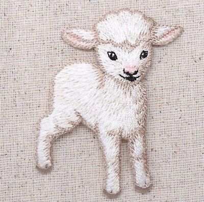 Application Embroided badges 4,7x6,5cm Iron on patches sheep white