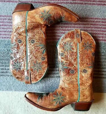 5a02df139 SHYANNE DAISY MAE Brown Leather Snip Toe Western Boots Flower Inlays ...