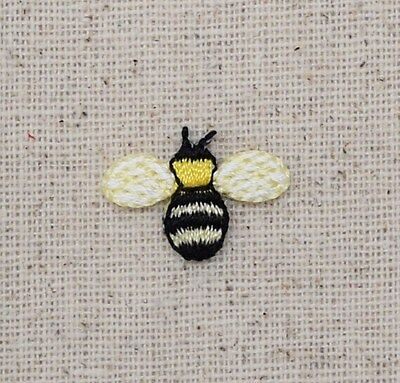 Iron On Embroidered Applique Patch - Mini Bumble Bee Yellow/Black Yellowjacket