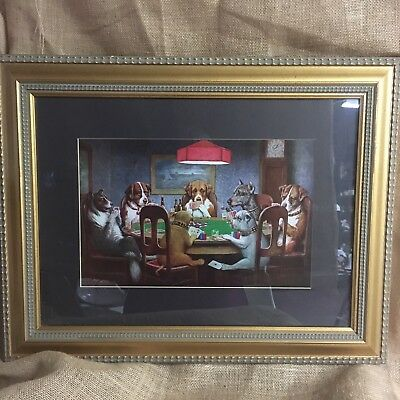 Dogs Playing Poker Framed Art Print A Friend in Need by CM Coolidge 23 x 18