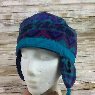 968293ae0f2431 VTG. 80S 90S Columbia Ear Flaps Trapper Cap Winter Hat Teal & Purple ...