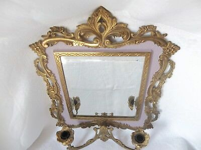 Antique Cast Brass Wall Beveled Wall Mirror with  Candle Holders Numbered