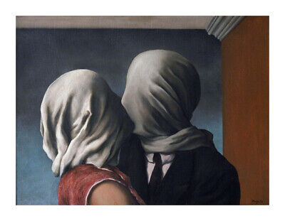 """Rene Magritte """"The Lovers"""" Wall Decor HD Print on Art Fabric 12X16 INCH"""