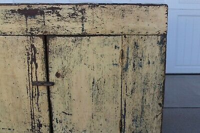Rare Aafa Antique Folk Art Early 1800 Paint Yellow Blue Primitive Wood Dry Sink