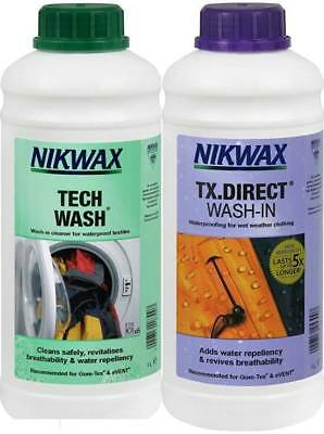 Nikwax Tech Wash & TX Direct 5 Litre Twin Pack Cleaning Waterproofing Outdoor
