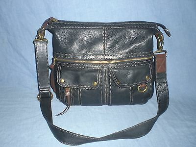 9e4bf0133d3 FOSSIL MORGAN LARGE BLACK Pebbled Leather Traveler Crossbody ...