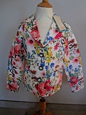 BNWT NEW WHITE FLORAL MONSOON Girl jacket AGE 11, 12 YEARS PARTY CRYSTAL BUTTON