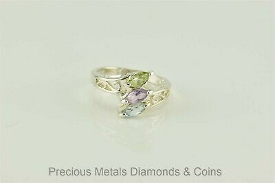 Sterling Silver Triple Stacked Amethyst Topaz Peridot Bypass Band Ring 925 Sz: 6