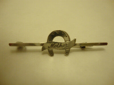 Nice old vintage retro 1930's 1940's antique lucky horseshoe mother brooch pin
