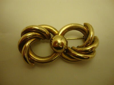 Nice large well made old vintage retro gold plated bow brooch 1940's -1950's