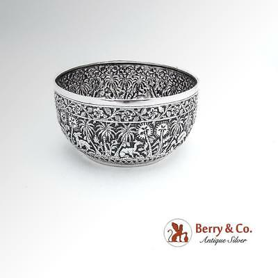 Antique Ornate Floral Bowl Hand Chased Animals Anglo Indian Sterling Silver 1893