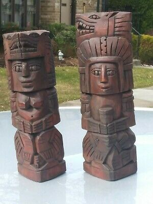 Mexican Hand Carving Wood pair Sculptures totem Mayan / Aztec Indian Chief