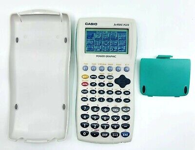 Casio fx-9750G PLUS Graphing Calculator White Green w/ Cover TESTED & WORKING