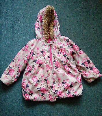 Peackocks Girls Outdoor Warm Winter Zipped Hooded Jacket, Flowery 3-4 Years,Used