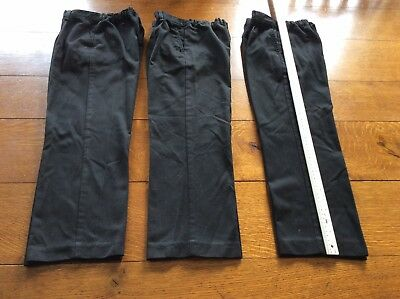 """3 X Pairs Black Marks And Spencer Boys School Trousers. 22"""" Leg."""