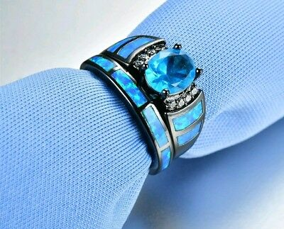 ~ Victorian Style ~ Size 6 Blue Sapphire & Fire Opal Double Engagement Ring ~