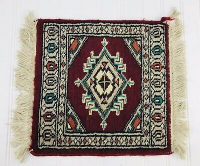 Vintage Hand Made Persian Rug Wool  Sample Size Square Carpet 13x 12.5