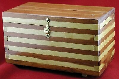 HANDCRAFTED SOLID CEDAR & PINE TREASURE/TRINKET/JEWELRY BOX w BRASS HARDWARE