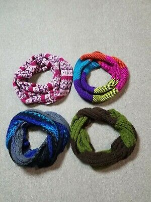 Women's Lot Of 4 Assorted Colors Printed Shaded Loop Infinity Knit Scarves