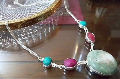 Natural Ruby,Ruby Zoisite, Turquoise Fashion Necklace,925 Sterling Silver Plated