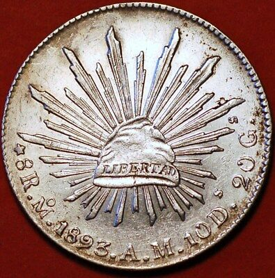 1893 8 Reales silver M AM Mexicana Republic