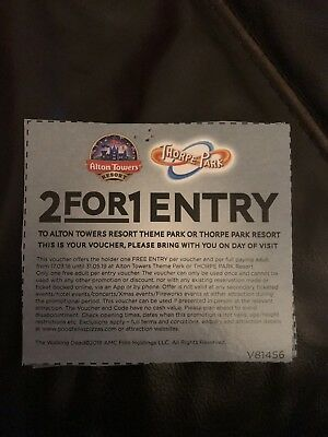 2 For 1 Alton Towers Or Thorpe Park Coupon