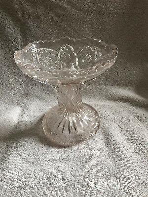 Pressed Glass Vase or Punch bowl base, Ornate, Heavy