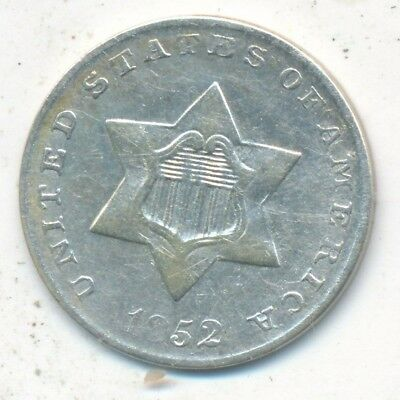 1852 Three Cent Silver Piece-Beautiful Gently Circulated 3 Cent-Ships Free!