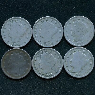 United States 1902 1905 1907 1908 1910 & 1912 Liberty 5 Cent Coins