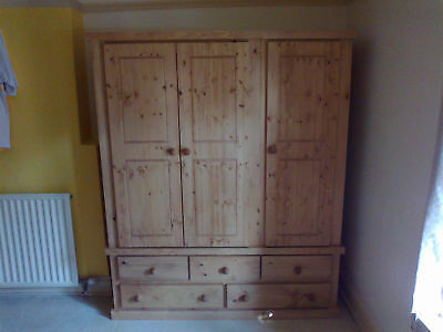 Handmade Wentworth Solid Antique Wax Pine Triple 5 Dwr Wardrobe No Flat Packs
