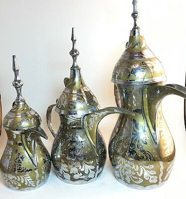 Arabic Islamic Copper Brass Dallah Coffee Tea Pot Middle East stamped (Set of 3)