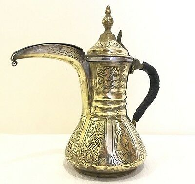 ANTIQUE ISLAMIC ARABIC OMAN PERSIAN BRASS COFFEE POT DALLAH + 2 free coffee cups