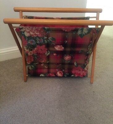 Vintage Floral Folding Magazine Sewing Knitting Yarn Holder Wooden